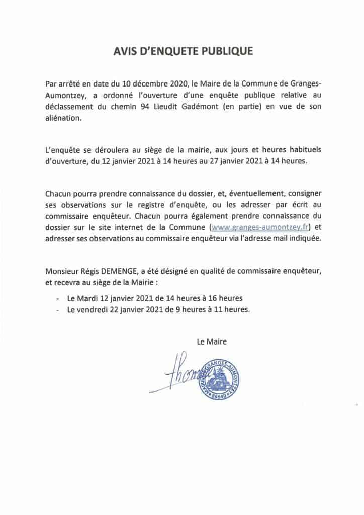 Avis d'enquête Mairie de Granges-Aumontzey