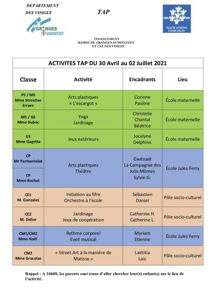 Tableau Activités TAP du 30-04 au 02-07-2021-Granges-Aumontzey