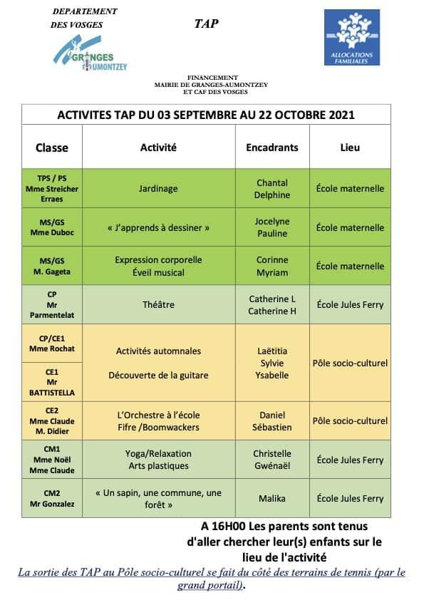 Tableau Activités TAP du 0309 au 22102021_Granges-Aumontzey